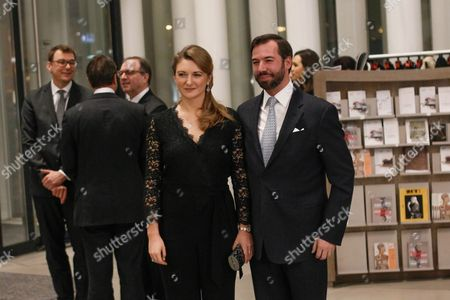 Crown Prince Guillaume of Luxembourg (r) and Crown Princess Stephanie of Luxembourg Arrive at the Philharmonie Luxembourg the Grande-duchesse Josephine-charlotte Concert Hall in Luxembourg 09 January 2016 the Royal Family Invited to a Special Concert by the Luxembourg Philharmonic Orchestra to Mark the 95th Birthday of Former Grand Duke Jean on 05 January Luxembourg Luxembourg