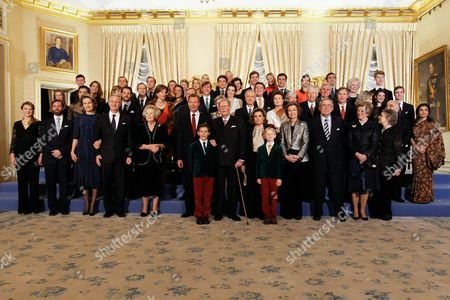 Stock Photo of Former Grand Duke Jean (front-c) Poses with Family Members and Guests For a Group Photo at the Grand Ducale Palace in Luxembourg 09 January 2016 to Mark His 95th Birthday on 05 January (first Row L-r) Crown Princess Stephanie of Luxembourg Crown Prince Guillaume of Luxembourg Belgian Queen Mathilde Belgian King Philippe Dutch Princess Beatrix Grand Duke Henri of Luxembourg Former Grand Duke Jean Grand Duchess Maria-teresa Spanish Queen Sofia Constantine Ii of Greece Queen Anne-marie of Greece and Princess Irene of Greece Luxembourg Luxembourg