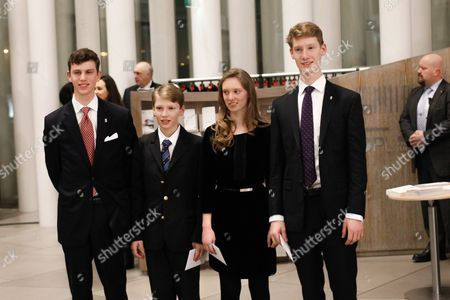 Prince Paul Louis of Nassau (l) Prince Jean of Nassau (2-l) Princess Charlotte of Nassau (2-r) Prince Leopold of Nassau (r) Arrive at the Philharmonie Luxembourg the Grande-duchesse Josephine-charlotte Concert Hall in Luxembourg 09 January 2016 the Royal Family Invited to a Special Concert by the Luxembourg Philharmonic Orchestra to Mark the 95th Birthday of Former Grand Duke Jean on 05 January Luxembourg Luxembourg