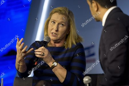 Israeli Opposition Politician Tzipi Livni Speaks During a Conference Titled 'Fighting the Boycott' in Jerusalem Israel 28 March 2016 the Conference Organized by the Israeli Newspaper Yedioth Ahronoth Includes Speeches by Senior Israeli Politicians Speaking About How Israel Reacts on the International Efforts of the Bds Movement (boycott Divestment and Sanctions Movement) to Boycott the Country in the Political Economic and Cultural Fields the Bds Movement Aims at Putting Pressure on Israel to Change Its Policy Towards Ending the Occupation of Palestinian Territories and the Golan Heights Equal Rights For Arab-palestinian Israelis and the Right For Palestinian Refugees to Return Israel Jerusalem