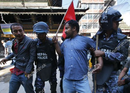 Nepalese Police Arrest Activists of the Ethnic Newar Group During a Protest Against the New Constitution in Kathmandu Nepal 20 September 2015 Several Ethnic Communities of Nepal Including Newar Madeshi and Tharu Are Protesting Against the New Constitution Saying This Constitution Will not End Their Discrimination Nepal President Ram Baran Yadav is Enacting the New Constitution During a Special Function at the Constitution Assembly Hall in Kathmandu on 20 September 2015 Nepal Kathmandu