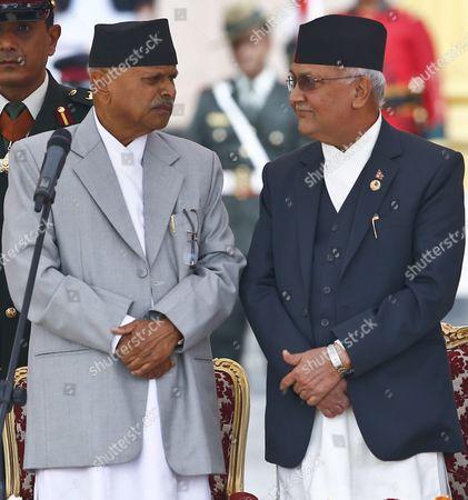 Nepal's President Ram Baran Yadav (l) and Newly Elected Prime Minister Khadga Prasad Sharma Oli After the Oath of Ceremony at the Presidential Office in Kathmandu Nepal 12 October 2015 Khadga Prasad Sharma Oli Became the 38th Prime Minister of Nepal Winning a Parliamentary Vote by a Majority Nepal Kathmandu