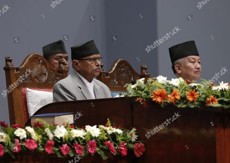 Nepalese President Ram Baran Yadav (l) Announces the Presentation of Nepal's New Constitution As Subash Newang (r) Head of the Constitution Assembly Looks on During a Session at the Constitution Assembly Hall in Kathmandu Nepal 20 September 2015 Several Ethnic Communities of Nepal Including Newar Madeshi and Tharu Are Protesting Against the New Constitution Saying This New Constitution Will not End Their Discrimination Nepal Kathmandu