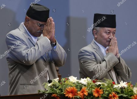 Nepalese President Ram Baran Yadav (l) and Subash Newang (r) Head of Constitution Assembly Greet During Promulgate Function of Nepal New Constitution at the Constitution Assembly Hall in Kathmandu Nepal 20 September 2015 Several Ethnic Communities of Nepal Including Newar Madeshi and Tharu Are Protesting Against the New Constitution Saying This New Constitution Will not End Their Discrimination Nepal Kathmandu