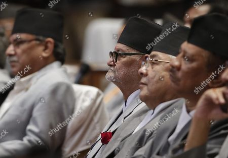 Nepalese Prime Minister Sushil Koirala (c) Along with His Cabinet Ministers Listen While President Ram Baran Yadav Announces the New Nepal Constitution During a Session at the Constitution Assembly Hall in Kathmandu Nepal 20 September 2015 Several Ethnic Communities of Nepal Including Newar Madeshi and Tharu Are Protesting Against the New Constitution Saying This New Constitution Will not End Their Discrimination Nepal Kathmandu