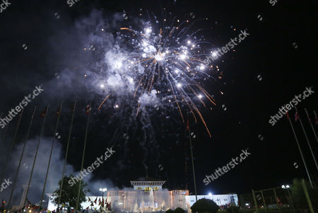 Fireworks Are Displayed After President Ram Baran Yadav Unveiled the New Nepal Constitution at the Constitution Assembly Hall in Kathmandu Nepal 20 September 2015 Several Ethnic Communities of Nepal Including Newar Madeshi and Tharu Are Protesting Against the New Constitution Saying This New Constitution Will not End Their Discrimination Nepal Kathmandu