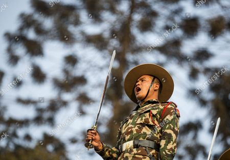 Nepalese Soldiers Pay Tribute During the Funeral of Late Nepalese Prime Minister Sushil Koirala at Pashupati Cremation Center in Kathmandu Nepal 10 February 2016 Former Prime Minister and Nepali Congress President Sushil Koirala Passed Away on 09 February 2016 at the Age of 76 Succumbing to Pneumonia According to Local News Reports Nepal Kathmandu