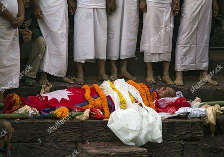 Stock Image of The Blody of Late Nepalese Prime Minister Sushil Koirala at Pashupati Cremation Center in Kathmandu Nepal 10 February 2016 Former Prime Minister and Nepali Congress President Sushil Koirala Passed Away on 09 February 2016 at the Age of 76 Succumbing to Pneumonia According to Local News Reports Nepal Kathmandu