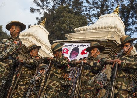 Stock Photo of Nepalese Soldiers Pay Tribute During the Funeral of Late Nepalese Prime Minister Sushil Koirala at Pashupati Cremation Center in Kathmandu Nepal 10 February 2016 Former Prime Minister and Nepali Congress President Sushil Koirala Passed Away on 09 February 2016 at the Age of 76 Succumbing to Pneumonia According to Local News Reports Nepal Kathmandu