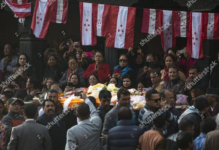 Nepalese Leaders and Activists of Nepali Congress Party Gather to Pay Tribute to Late Nepalese Prime Minister Sushil Koirala at Pashupati Cremation Center in Kathmandu Nepal 10 February 2016 Former Prime Minister and Nepali Congress President Sushil Koirala Passed Away on 09 February 2016 at the Age of 76 Succumbing to Pneumonia According to Local News Reports Nepal Kathmandu