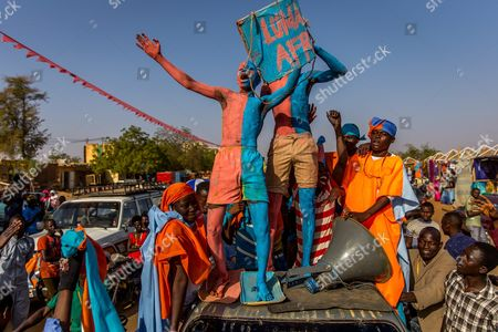 A Photograph Made Available 20 February 2016 Shows Supporters of Niger Presidential Candidate Hama Amadou During an Election Campaign Rally in Niamey Niger 19 February 2016 Amadou Currently Imprisoned on Accusation of Baby Trafficking is a Main Opposition Candidate in the Niger Elections to Be Held 21 February 2016 in Which Current President Issoufou Mahamadou is Looking For a Second Mandate Niger Niamey