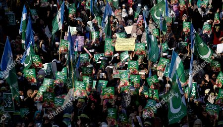 Supporters of the Islamic Political Party Hold Placards Reading in Urdu 'My Life Muhammad (pbuh)' During a Protest After the Execution of Mumtaz Qadri who Killed a Pakistani Provincial Governor in Karachi Pakistan 13 March 2016 Pakistan on 29 February Hanged Mumtaz Qadri the Ex-police Guard who Killed Salman Taseer a Former Governor For Opposing the Country's Blasphemy Laws Which Impose the Death Penalty in Some Cases Pakistan Karachi