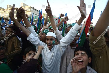 Supporters of the Islamic Political Party Shout Slogans During a Protest After the Execution of Mumtaz Qadri who Killed a Pakistani Provincial Governor in Karachi Pakistan 13 March 2016 Pakistan on 29 February Hanged Mumtaz Qadri the Ex-police Guard who Killed Salman Taseer a Former Governor For Opposing the Country's Blasphemy Laws Which Impose the Death Penalty in Some Cases Pakistan Karachi