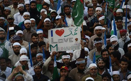 Supporters of Islamic Political Party Jamat-e-islami Listen to Their Leader Sirajul Haq (not Shown) During a Protest After the Execution of Mumtaz Qadri who Killed a Pakistani Provincial Governor in Karachi Pakistan 13 March 2016 Pakistan on 29 February Hanged Mumtaz Qadri the Ex-police Guard who Killed Salman Taseer a Former Governor For Opposing the Country's Blasphemy Laws Which Impose the Death Penalty in Some Cases Pakistan Karachi