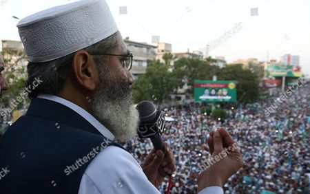 Sirajul Haq Head of Islamic Political Party Jamat-e-islami Speaks to Supporters During a Protest After the Execution of Mumtaz Qadri who Killed a Pakistani Provincial Governor in Karachi Pakistan 13 March 2016 Pakistan on 29 February Hanged Mumtaz Qadri the Ex-police Guard who Killed Salman Taseer a Former Governor For Opposing the Country's Blasphemy Laws Which Impose the Death Penalty in Some Cases Pakistan Karachi