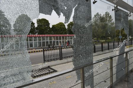 Stock Picture of A View of a Damaged Bus Station After Thousands of Islamists Marched Towards the Red Zone During a Protest on the Chehlum (the Fortieth Day) of Execution of Mumtaz Qadri who Killed a Pakistani Provincial Governor in Islamabad Pakistan 28 March 2016 Pakistan Had on 29 February Hanged Mumtaz Qadri the Ex-police Guard who Killed Salman Taseer a Former Governor For Opposing the Country's Blasphemy Laws Which Impose the Death Penalty in Some Cases Pakistan Islamabad