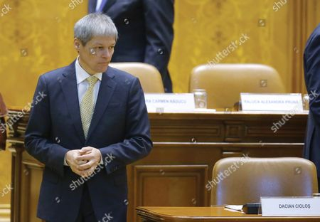 Designated Romanian Prime Minister Dacian Ciolos Prepares to Address Lawmakers During the Validation Vote Session Held at Parliament Palace in Bucharest Romania 17 November 2015 Ciolos 46 who Served As Eu Agriculture Commissioner Since 2010 was Appointed by Romania's President Klaus Iohannis After Victor Ponta Resigned to Form a Technocratic Government to Rule the Country Until Elections Next Year Romania Bucharest