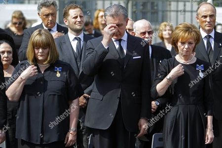 Prince Radu of Romania (c) His Wife Princess Margareta of Romania (r) and Her Sister Princess Elena of Romania (l) Daugters of Romania's Former King Michael and Queen Anne Attend the Funeral of Late Queen Anne of Romania in Front of the Royal Palace Now the Art Museum of Romania in Bucharest Romania 13 August 2016 Anne Wife of Romania's Former King Michael Died Aged 92 in a Hospital in Switzerland on 01 August 2016 Born Princess Anne of Bourbon-parma She Met Michael in 1947 and Married Him in 1948 Romania Bucharest