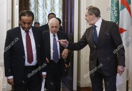 Russian Foreign Minister Sergei Lavrov (r) Talks with Arab League Secretary General Nabil Al-arabi (c) As They Arrive to Take Part in a Session of the Russian-arabic Forum of Cooperation in Moscow Russia 26 February 2016 Others Are not Identified Russian Federation Moscow