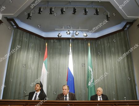 Russian Foreign Minister Sergei Lavrov (c) Arab League Secretary General Nabil Al-arabi (r) and the United Arab Emirates'foreign Minister Sheikh Abdullah Bin Zayed Al Nhayan (l) Attend a Joint News Conference Following a Session of the Russian-arabic Forum of Cooperation in Moscow Russia 26 February 2016 Russian Federation Moscow