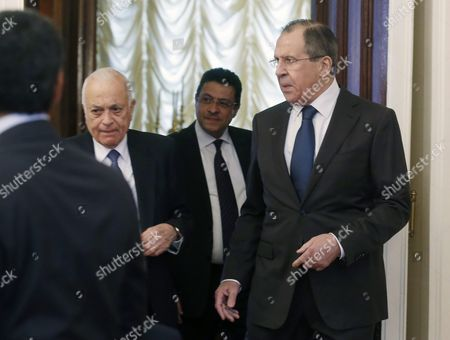 Russian Foreign Minister Sergei Lavrov (r) Talks with Arab League Secretary General Nabil Al-arabi (l) As They Arrive to Take Part in a Session of the Russian-arabic Forum of Cooperation in Moscow Russia 26 February 2016 Others Are not Identified Russian Federation Moscow
