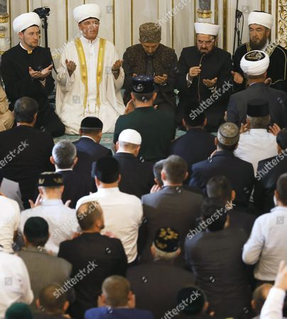 Russian Mufti Council Chairman Ravil Gainutdin (t 2-l) Leads Morning Prayers Celebrating 'Eid Al-adha' (feast of the Sacrifice) at the Moscow Sobornaya Mosque in Moscow Russia 24 September 2015 Muslims Around the World Mark Eid Al-adha to Commemorate the Sacrifice Made by the Prophet Abraham when God Asked Him to Give His Own Son Russian Federation Moscow