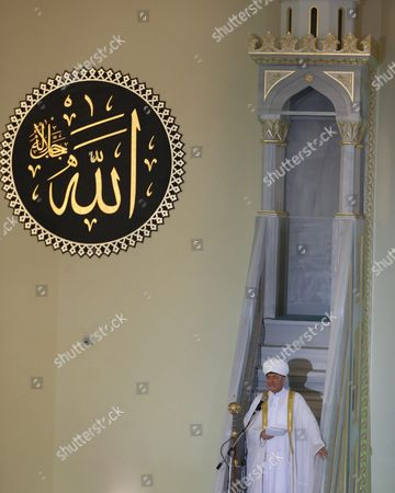 Russian Mufti Council Chairman Ravil Gainutdin Leads Morning Prayers Celebrating 'Eid Al-adha' (feast of the Sacrifice) at the Moscow Sobornaya Mosque in Moscow Russia 24 September 2015 Muslims Around the World Mark Eid Al-adha to Commemorate the Sacrifice Made by the Prophet Abraham when God Asked Him to Give His Own Son Russian Federation Moscow