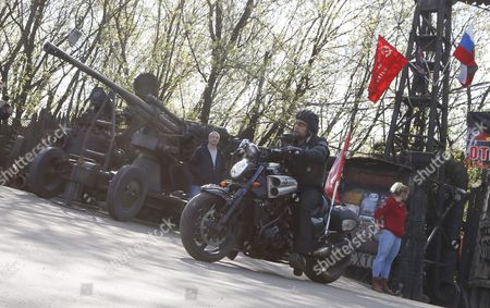 Alexander Zaldostanov (c) Leader of the Russian Motorcycle Club the Night Wolves and His Club-mates Start Their Rally From Moscow to Berlin 'Victory Roads - to Berlin' From Bike Center in the Lower Mnevniki Street in Moscow Russia 29 April 2016 the Annual 'Victory Roads - to Berlin' Motorcycle Rally Marking the 71st Anniversary of Victory Over the Nazi Germany in Wwii Lasts For 14 Days and Covers 6 000 Km Russian Federation Moscow