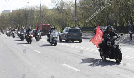 Alexander Zaldostanov (r) Leader of the Russian Motorcycle Club the Night Wolves and His Club-mates Start Their Rally From Moscow to Berlin 'Victory Roads - to Berlin' From Bike Center in the Lower Mnevniki Street in Moscow Russia 29 April 2016 the Annual 'Victory Roads - to Berlin' Motorcycle Rally Marking the 71st Anniversary of Victory Over the Nazi Germany in Wwii Lasts For 14 Days and Covers 6 000 Km Russian Federation Moscow
