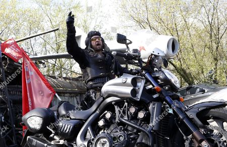 Alexander Zaldostanov Leader of the Russian Motorcycle Club the Night Wolves and His Club-mates Start Their Rally From Moscow to Berlin 'Victory Roads - to Berlin' From Bike Center in the Lower Mnevniki Street in Moscow Russia 29 April 2016 the Annual 'Victory Roads - to Berlin' Motorcycle Rally Marking the 71st Anniversary of Victory Over the Nazi Germany in Wwii Lasts For 14 Days and Covers 6 000 Km Russian Federation Moscow
