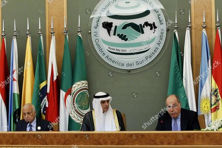 The Regional Coordinator For South America Brazilian Foreign Minister Luiz Alberto Figueiredo (r) Saudi Foreign Minister Adel Al-jubair (c) and the Secretary General of the Arab League Nabil Al-arabi (l) Attend a Press Conference Following a Session of the Arab-south American Countries Summit in Riyadh Saudi Arabia 11 November 2015 the Summit is Attended by 22 Arab Leaders and 12 South American Countries Leaders Meeting to Discuss Several Issues Including Increase of Trade Volume and Regional Issues Saudi Arabia Riyadh