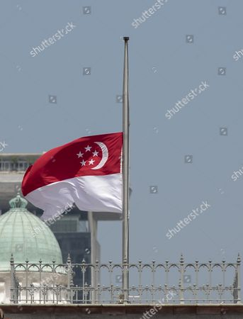 The Singapore Flag Flies at Half Mast Over the Parliament House in Singapore 23 August 2016 Sr Nathan Singapore's Sixth President Died in Hospital on 22 August 2016 at the Age of 92 a State Funeral Will Be Held on 26 August and His Body Will Lie in State at the Parliament House For the Public to Pay Their Last Respects on 25 August Singapore Singapore