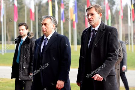 Slovenian Prime Minister Miroslav Cerar (r) Welcomes His Hungarian Counterpart Viktor Orban During His One-day Visit to Slovenia at Brdo Near Kranj 22 January 2016 Slovenia Brdo Pri Kranju