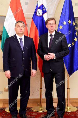 Slovenian Prime Minister Miroslav Cerar (r) Welcomes to His Hungarian Counterpart Viktor Orban During His One-day Visit to Slovenia at Brdo Near Kranj 22 January 2016 Slovenia Brdo Pri Kranju