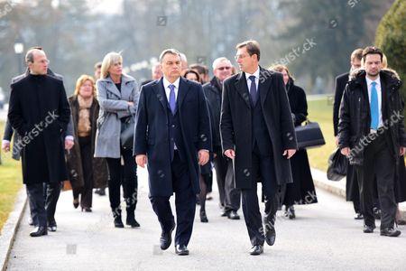 Slovenian Prime Minister Miroslav Cerar (c-r) Welcomes His Hungarian Counterpart Viktor Orban During His One-day Visit to Slovenia at Brdo Near Kranj 22 January 2016 Slovenia Brdo Pri Kranju