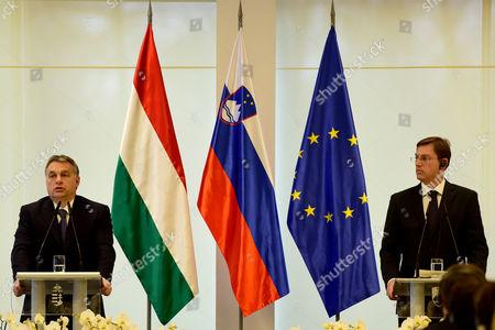 Slovenian Prime Minister Miroslav Cerar (r) and His Hungary Counterpart Viktor Orban (l) Talk During a Press Conference During Orban's One-day Visit at Brdo Near Kranj Slovenia 22 January 2016 Slovenia Brdo Pri Kranju