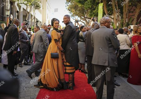 Nelson Mandela's Grandson Mandla Mandela (c-r) and His Wife Arrive Ahead of the Opening of Parliament Ceremony in Cape Town South Africa 11 February 2016 Various Political Parties Clashed Whilst Several Protests Against the President Took Place Across the Country on the Day of the Opening of Parliament where Embattled South African President Jacob Zuma Delivers His State of the Nation Address Outlining Governments Programme of Action For the Year Zuma Has Been Facing Increased Pressure From All Sectors to Step Down with Corruption Scandals Surrounding His Office South Africa's Constitutional Court is Still to Decide Whether President Jacob Zuma Should Pay Back State Money He Used to Upgrade His Private Residence South Africa Cape Town