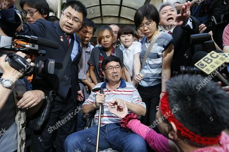 Stock Photo of Former Taiwanese President Chen Shui-bian (c) is Escorted by Relatives As Supporters Mobbed Him Before Attending an Event in Taipei Taiwan 04 June 2016 Chen who was Jailed For Corruption Made His First Public Appearance Since He was Granted a Medical Parole in January Last Year Taiwan Taipei