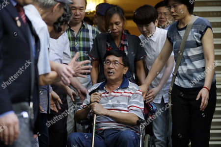 Former Taiwanese President Chen Shui-bian (c) is Escorted by Relatives As Supporters Mobbed Him Before Attending an Event in Taipei Taiwan 04 June 2016 Chen who was Jailed For Corruption Made His First Public Appearance Since He was Granted a Medical Parole in January Last Year Taiwan Taipei