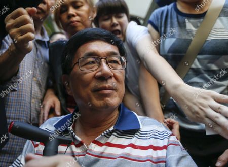 Former Taiwanese President Chen Shui-bian is Escorted by Relatives As Supporters Mobbed Him Before Attending an Event in Taipei Taiwan 04 June 2016 Chen who was Jailed For Corruption Made His First Public Appearance Since He was Granted a Medical Parole in January Last Year Taiwan Taipei
