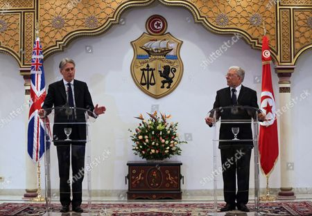 British Foreign Secretary Philip Hammond (l) and His Tunisian Counterpart Taieb Baccouche (r) Speak During a Press Conference at the Ministry of Foreign Affairs in Tunis Tunisia 27 November 2015 Hammond is on a Visit to Tunis For Anti-terror Talks in the Wqake of the Recent Terror Attacks Tunisia Tunis