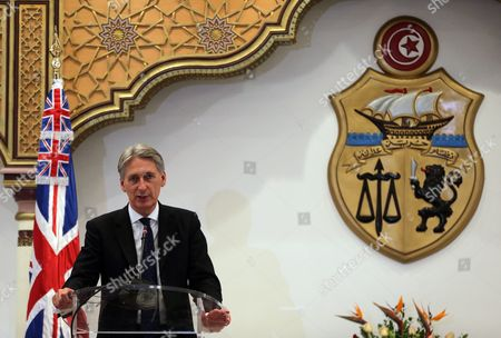 British Foreign Secretary Philip Hammond Speaks During a Joint Press Conference with His Tunisia Counterpart Taieb Baccouche (not Pictured) at the Ministry of Foreign Affairs in Tunis Tunisia 27 November 2015 Philip Hammond's Visit is Part of 'Britain's Full Commitment to Supporting Tunisia in This Critical Phase to Back Its Counter-terrorism Efforts ' the Ministry of Foreign Affairs Said Tunisia Tunis