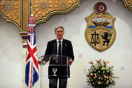 Stock Picture of British Foreign Secretary Philip Hammond Speaks During a Joint Press Conference with His Tunisia Counterpart Taieb Baccouche (not Pictured) at the Ministry of Foreign Affairs in Tunis Tunisia 27 November 2015 Philip Hammond's Visit is Part of 'Britain's Full Commitment to Supporting Tunisia in This Critical Phase to Back Its Counter-terrorism Efforts ' the Ministry of Foreign Affairs Said Tunisia Tunis