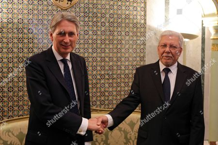 British Foreign Secretary Philip Hammond (l) Meets with His Tunisian Counterpart Taieb Baccouche (r) During Their Meeting at the Ministry of Foreign Affairs in Tunis Tunisia 27 November 2015 Philip Hammond's Visit is Part of 'Britain's Full Commitment to Supporting Tunisia in This Critical Phase to Back Its Counter-terrorism Efforts ' the Ministry of Foreign Affairs Said Tunisia Tunis