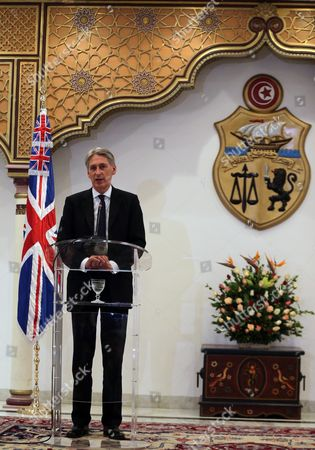 Stock Image of British Foreign Secretary Philip Hammond Speaks During a Joint Press Conference with His Tunisia Counterpart Taieb Baccouche (not Pictured) at the Ministry of Foreign Affairs in Tunis Tunisia 27 November 2015 Philip Hammond's Visit is Part of 'Britain's Full Commitment to Supporting Tunisia in This Critical Phase to Back Its Counter-terrorism Efforts ' the Ministry of Foreign Affairs Said Tunisia Tunis