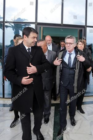 German Interior Minister Thomas De Maiziere (r) is Welcomed by His Tunisian Counterpart Hedi Majdoub (l) in Tunis Tunisia 01 March 2016 the German Interior Minister is Visiting Tunisia As Part of a Three-day Tour That Took Him to Morocco and Algeria Tunisia Tunis