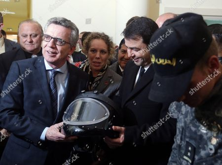 German Interior Minister Thomas De Maiziere (l) and His Tunisian Counterpart Hedi Majdoub (2-r) Inspect Equipment Offered by Germany at a National Guard Barracks in Tunis Tunisia 01 March 2016 the Equipment was Made Available to Help Tunisia Monitor Its Borders Along with Libya Tunisia Tunis