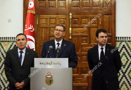 Tunisian Defense Minister Farhat Horchani (l) Tunisian Prime Minister Habib Essid (c) and Tunisia Interior Minister Hedi Majdoub (r) During a Press Conference After an Emergency Cabinet Meeting in Tunis Tunisia 08 March 2016 the Death Toll From Clashes Between Tunisian Security Forces and Unidentified Insurgents Near the Border with Libya is 54 the Interior Ministry Said a Day Earlier the Clashes Broke out when Gunmen Attempted to Storm Military and Security Barracks and Other Sites at Dawn Monday in Begardene Near the Libyan Border Tunisia Has Experienced a Series of Deadly Attacks During the Past Year the Islamic State Terrorist Group Which is Active in Libya Has Claimed Responsibility For Some of the Attacks Including a Shooting Spree That Killed 21 Tourists and a Police Officer at the Bardo Museum in the Heart of Tunis Tunisia Tunis