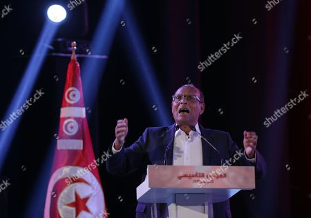 Former Tunisian President Moncef Marzouki Speaks During the Founding Congress Meeting of His New Political Party in Tunis Tunisia 20 December 2015 Marzouki was President of Tunisia From 2011 to 2014 He was Defeated by Beji Caid Essebsi in the 2014 Presidential Election Tunisia Tunis