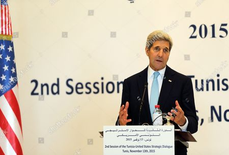 Us Secretary of State John Kerry Speaks During a Joint Press Conference with His Tunisia Counterpart Taieb Baccouche (not Pictured) in Tunis Tunisia 13 November 2015 Kerry is in Tunisia to Take Part in Talks with the Wide Raging Tunisian National Dialogue Quartet to Look at Ways of Improving Political and Economic Ties with the Small North African Nation Tunisia Tunis
